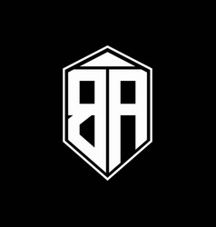 ba logo monogram with emblem shape combination vector image