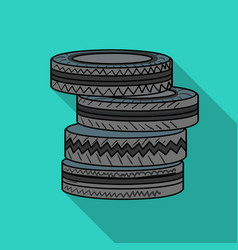 barricade from tires icon in outline style vector image