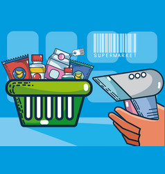 Basket with supermarket products vector