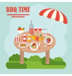 Bbq table with food vector