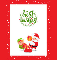 best wishes from santa claus elf preparing gifts vector image