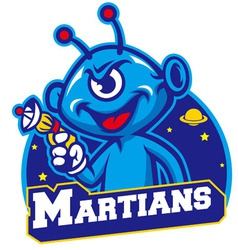 blue martian hold a laser gun vector image