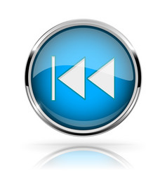 Blue round media button rewind button shiny icon vector