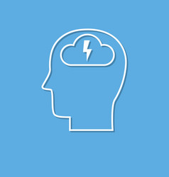 brainstorming head icon cut from white paper vector image