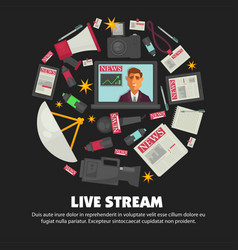 Breaking news live broadcast poster vector