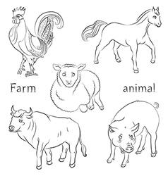 Bull cock horse pig sheep vector