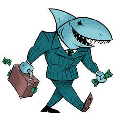 Business shark isolated vector