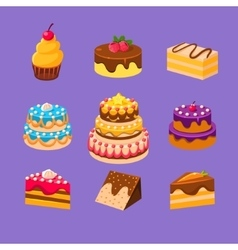 Cakes and Desserts Set vector
