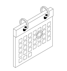 Calendar with mark icon isometric 3d style vector
