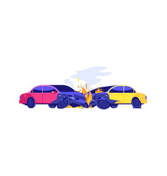 car crash automobiles in fire isolated damaged vector image