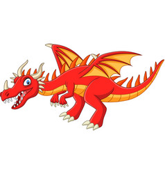 cartoon red dragon on white background vector image