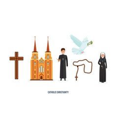 Catholic cross cathedral priest and nun vector