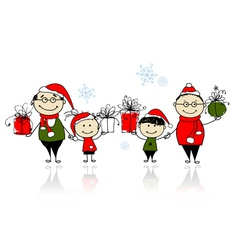 Christmas gifts Happy family together vector image