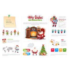 christmas infographics elements set template vector image