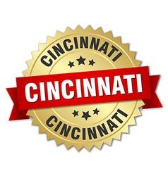 Cincinnati round golden badge with red ribbon vector