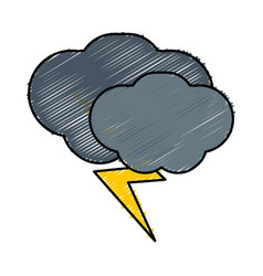 Clouds and bolt icon vector