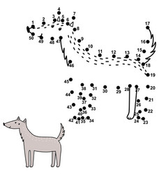 connect numbers and draw a cute wolf vector image