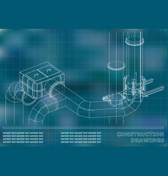 Construction drawings 3d metal construction pipes vector