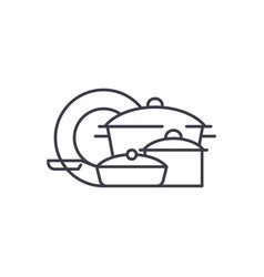 cookware line icon concept cookware linear vector image