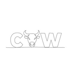 cow one line drawing in line style vector image