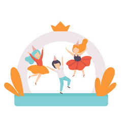 Cute boys jumping on inflatable trampoline kids vector