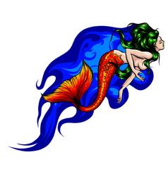 cute cartoon mermaids siren sea theme vector image
