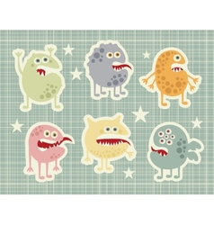 Cute monsters set in retro style vector