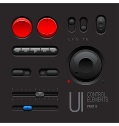 Dark Web UI Elements Buttons Switches vector