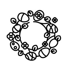 decorative wreath line icon concept sign outline vector image