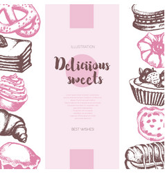 delicious sweets - color hand drawn composite vector image