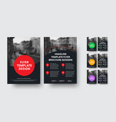 design of black a4 flyers with round elements and vector image
