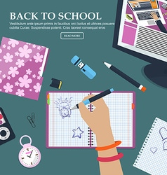 Desk Schoolgirls with exercise books and vector image