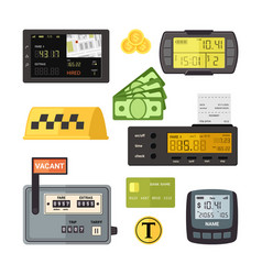 digital and mechanical taximeters set counter vector image
