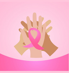 diverse hands holding pink ribbon breast cancer vector image
