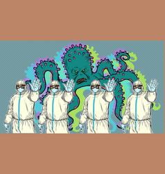 Doctors in suits biosecurity stop epidemic vector