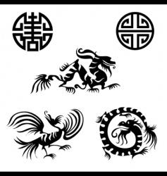 dragon design elements vector image