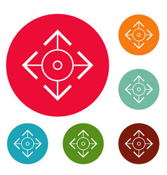Easy target icons circle set vector
