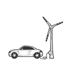 Electroc car charged wind turbine sketch vector
