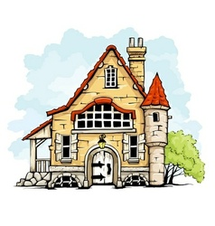 fairytale old house in retro vector image