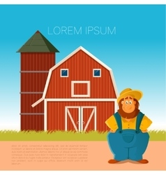 Farm banner with a farmer vector