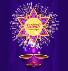 festival lights postcard with firework diwali vector image