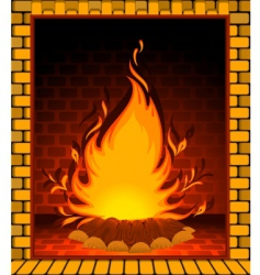 Fire burning in fireplace vector