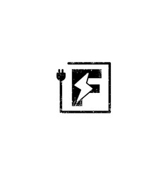 Flash logo initial f symbol electrical icon vector
