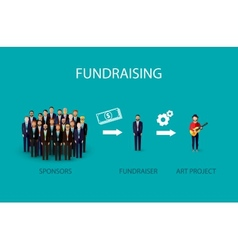 Flat of an infographic fundraising concept a group vector