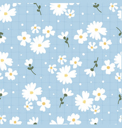 flat style white daisy flower on blue plaid vector image