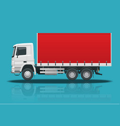 flat truck delivery isolated realistic vehicles on vector image