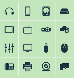 gadget icons set with hard drive headphone vector image