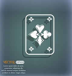 Game cards icon On the blue-green abstract vector