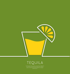 Glass of tequila with lemon vector image