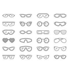 glasses sun eye frame hipster line icon set vector image